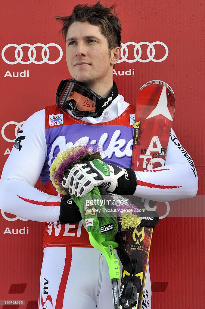 Marcel Hirscher of Austria takes 2nd place during the Audi FIS Alpine Ski World Cup Men's Slalom on January 20, 2013 in Wengen, Switzerland.