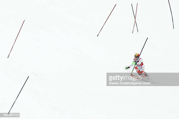 Marcel Hirscher of Austria takes 2nd place during the Audi FIS Alpine Ski World Cup Men's Slalom on March 10 2013 in Kranjska Gora Slovenia