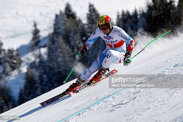 Marcel Hirscher of Austria takes 2nd place during the Audi FIS Alpine Ski World Cup Men's Giant Slalom on March 16 2013 in Lenzerheide Switzerland