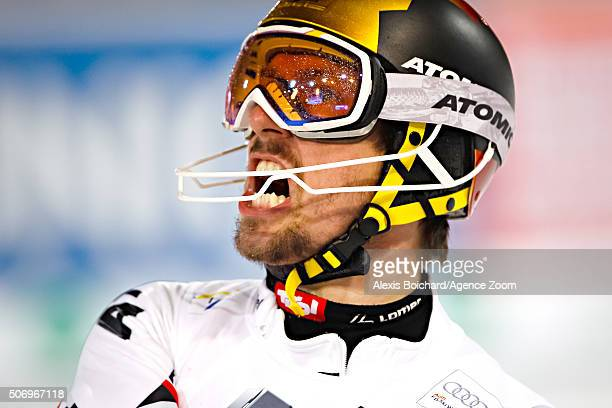 Marcel Hirscher of Austria takes 2nd place during the Audi FIS Alpine Ski World Cup Men's Slalom on January 26 2016 in Schladming Austria