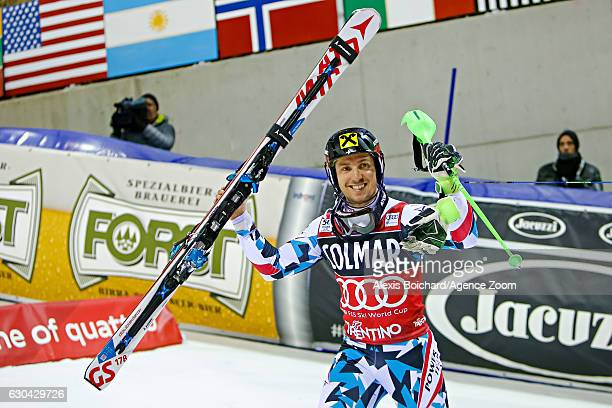 Marcel Hirscher of Austria takes 2nd place during the Audi FIS Alpine Ski World Cup Men's Slalom on December 22 2016 in Madonna di Campiglio Italy