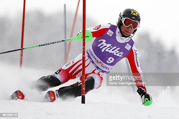 Marcel Hirscher of Austria takes 2nd place during the Audi FIS Alpine Ski World Cup Men's Slalom on January 31 2010 in Kranjska Gora Slovenia
