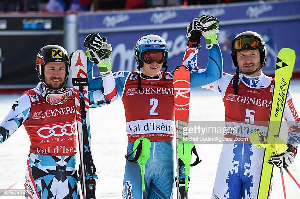Marcel Hirscher of Austria takes 2nd place Henrik Kristoffersen of Norway takes 1st place Alexander Khoroshilov of Russia takes 3rd place during the...