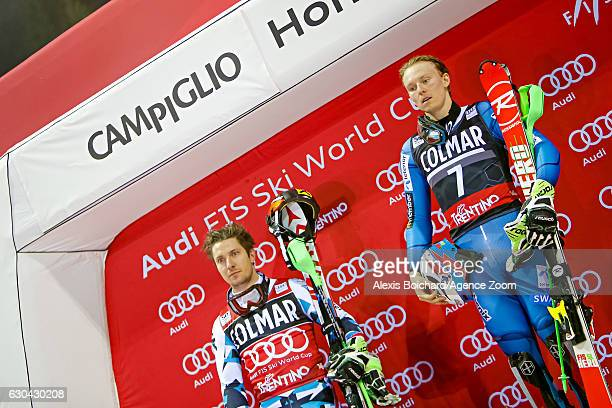 Marcel Hirscher of Austria takes 2nd place Henrik Kristoffersen of Norway takes 1st place during the Audi FIS Alpine Ski World Cup Men's Slalom on...