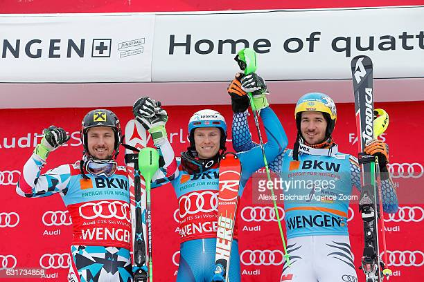 Marcel Hirscher of Austria takes 2nd place Henrik Kristoffersen of Norway takes 1st place Felix Neureuther of Germany takes 3rd place during the Audi...