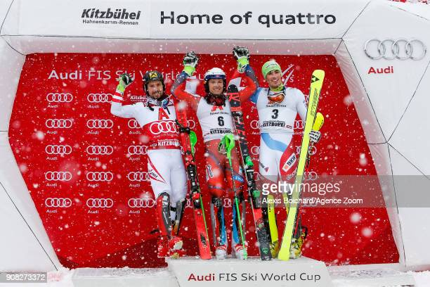 Marcel Hirscher of Austria takes 2nd place Henrik Kristoffersen of Norway takes 1st place Daniel Yule of Switzerland takes 3rd place during the Audi...