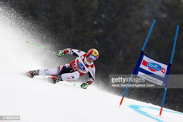 Marcel Hirscher of Austria takes 2nd place in the overall giant slalom World Cup during the Audi FIS Alpine Ski World Cup Finals Men's Giant Slalom...