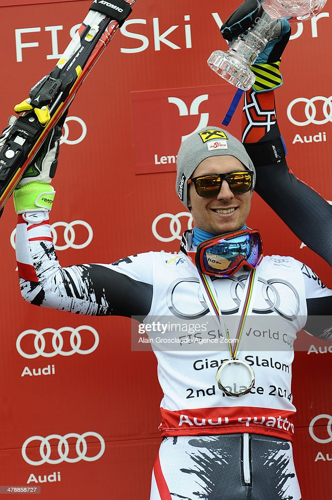 Marcel Hirscher of Austria takes 2nd place in the overall giant slalom World Cup during the Audi FIS Alpine Ski World Cup Finals Men's Giant Slalom on March 15, 2014 in Lenzerheide, Switzerland.