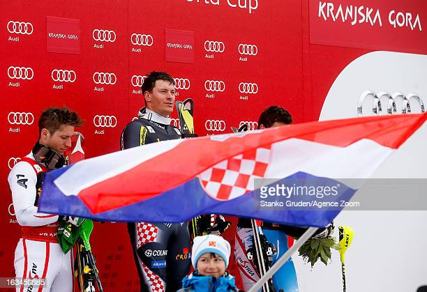 Marcel Hirscher of Austria takes 2nd place Ivica Kostelic of Croatia takes 1st place Mario Matt of Austria takes 3rd place during the Audi FIS Alpine...