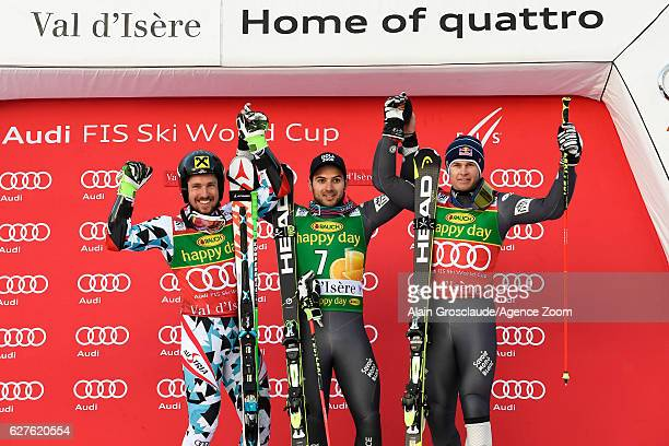 Marcel Hirscher of Austria takes 2nd place Mathieu Faivre of France takes 1st place Alexis Pinturault of France takes 3rd place during the Audi FIS...