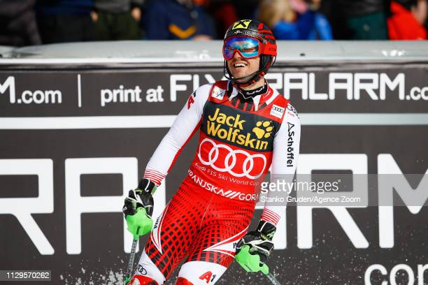 Marcel Hirscher of Austria takes 3rd place during the Audi FIS Alpine Ski World Cup Men's Slalom on March 10 2019 in Kranjska Gora Slovenia