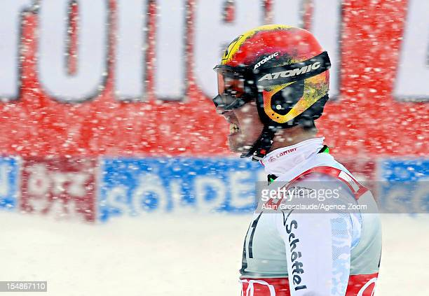 Marcel Hirscher of Austria takes 3rd place during the Audi FIS Alpine Ski World Cup Men's Giant Slalom on October 28 2012 in Solden Austria