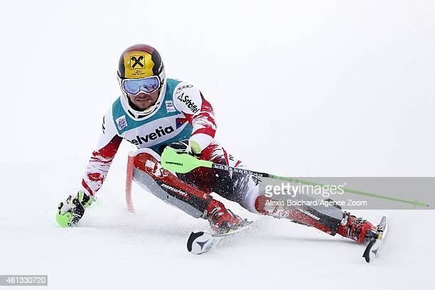 Marcel Hirscher of Austria takes 3rd place during the Audi FIS Alpine Ski World Cup Men's Slalom on January 11 2015 in Adelboden Switzerland