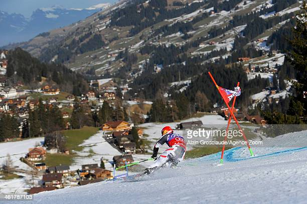 Marcel Hirscher of Austria takes 3rd place during the Audi FIS Alpine Ski World Cup Men's Giant Slalom on January 11 2014 in Adelboden Switzerland