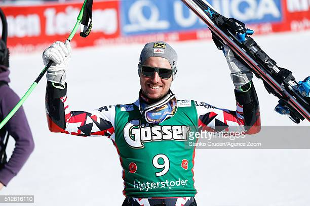 Marcel Hirscher of Austria takes 3rd place during the Audi FIS Alpine Ski World Cup Men's SuperG on February 27 2016 in Hinterstoder Austria