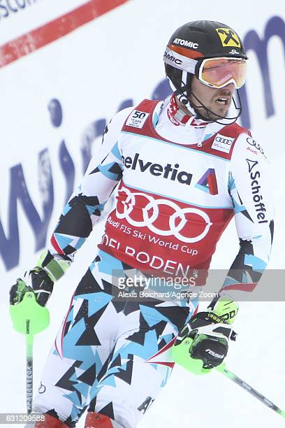 Marcel Hirscher of Austria takes 3rd place during the Audi FIS Alpine Ski World Cup Men's Slalom on January 08 2017 in Adelboden Switzerland