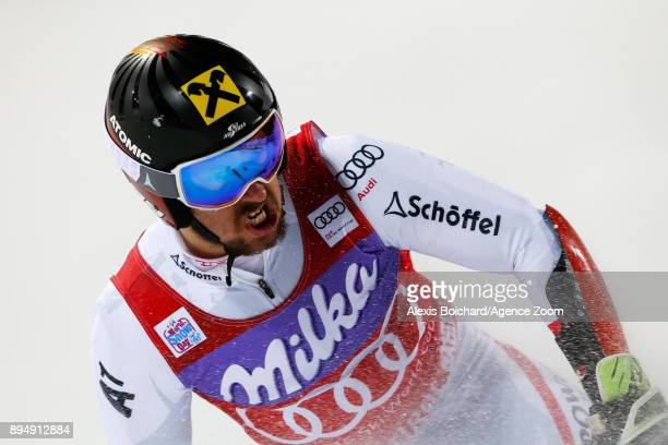 Marcel Hirscher of Austria takes 3rd place during the Audi FIS Alpine Ski World Cup Men's Parallel Giant Slalom on December 18 2017 in Alta Badia...