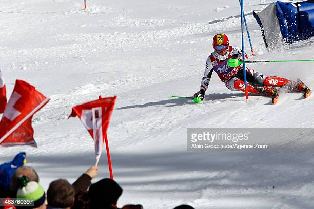 Marcel Hirscher of Austria takes the 2nd place during the Audi FIS Alpine Ski World Cup Men's Slalom on January 19 2014 in Wengen Switzerland