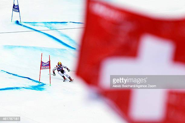 Marcel Hirscher of Austria takes the 3rd place during the Audi FIS Alpine Ski World Cup Men's Giant Slalom on January 11 2014 in Adelboden Switzerland