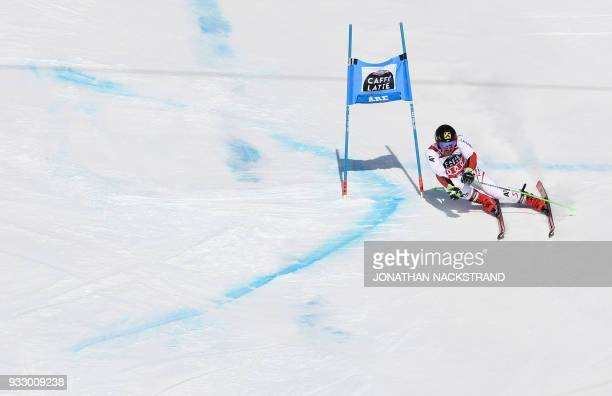 TOPSHOT Marcel Hirscher of Austria winner of the overall World Cup title competes to win the Men's Giant Slalom event of the Alpine Skiing World Cup...