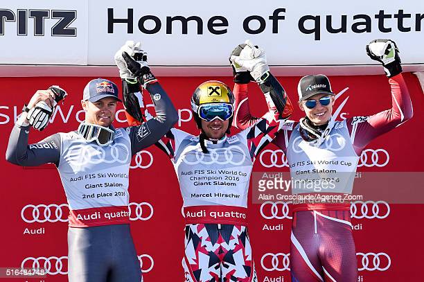 Marcel Hirscher of Austria wins the giant slalom crystal globe Alexis Pinturault of France takes 2nd place in the overall giant slalom standings...