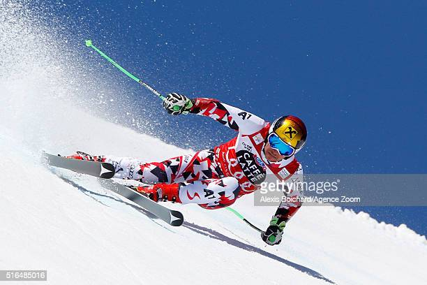 Marcel Hirscher of Austria wins the giant slalom crystal globe during the Audi FIS Alpine Ski World Cup Finals Men's Giant Slalom and Women's Slalom...