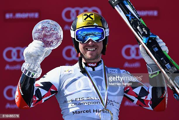 Marcel Hirscher of Austria wins the giant slalom crystal globe during the Audi FIS Alpine Ski World Cup Finals Men's Giant Slalom on March 19 2016 in...