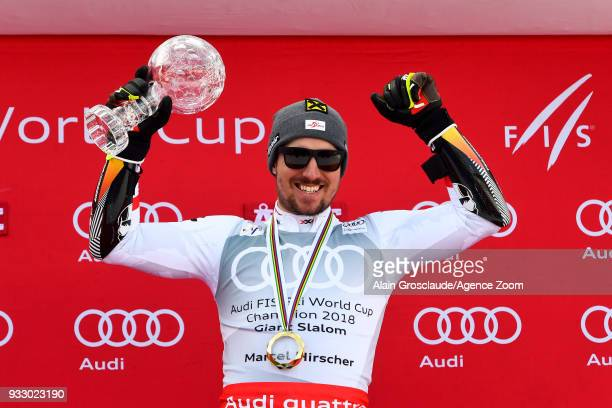 Marcel Hirscher of Austria wins the globe during the Audi FIS Alpine Ski World Cup Finals Men's Giant Slalom on March 17 2018 in Are Sweden