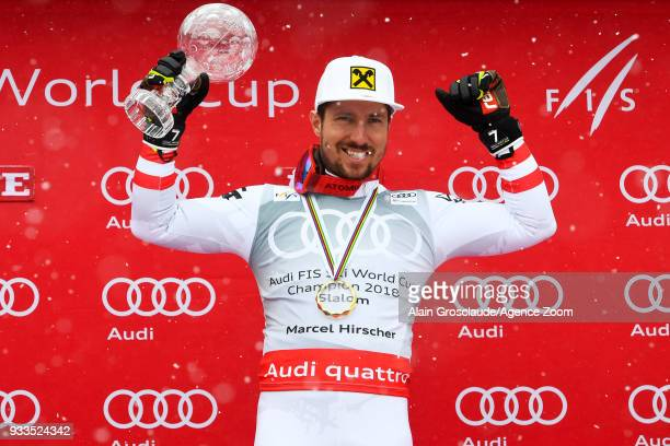 Marcel Hirscher of Austria wins the globe during the Audi FIS Alpine Ski World Cup Finals Men's Slalom on March 18 2018 in Are Sweden