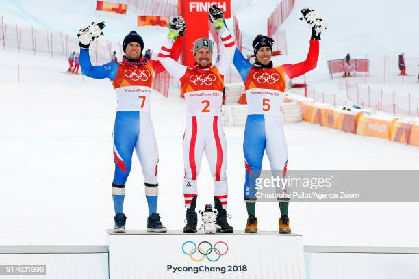 Marcel Hirscher of Austria wins the gold medal Alexis Pinturault of France wins the silver medal Victor Muffatjeandet of France wins the bronze medal...