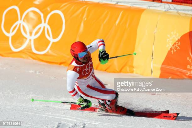Marcel Hirscher of Austria wins the gold medal during the Alpine Skiing Men's Combined at Jeongseon Alpine Centre on February 13 2018 in...