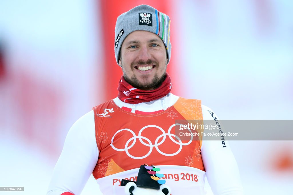 Marcel Hirscher of Austria wins the gold medal during the Alpine Skiing Men's Combined at Jeongseon Alpine Centre on February 13, 2018 in Pyeongchang-gun, South Korea.