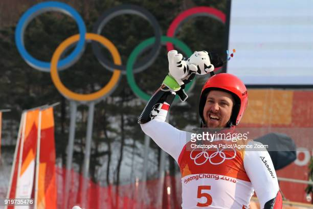 Marcel Hirscher of Austria wins the gold medal during the Alpine Skiing Men's Giant Slalom at Yongpyong Alpine Centre on February 18 2018 in...