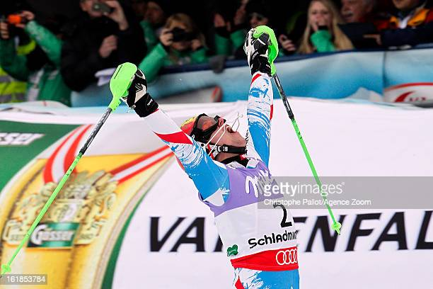 Marcel Hirscher of Austria wins the gold medal during the Audi FIS Alpine Ski World Championships Men's Slalom on February 17 2013 in Schladming...