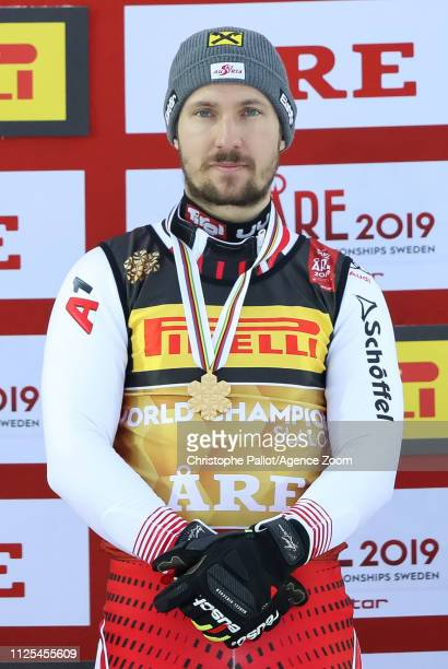 Marcel Hirscher of Austria wins the gold medal during the FIS World Ski Championships Men's Slalom on February 17 2019 in Are Sweden