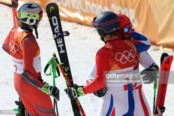 Marcel Hirscher of Austria wins the gold medal Henrik Kristoffersen of Norway wins the silver medal Alexis Pinturault of France wins the bronze medal...
