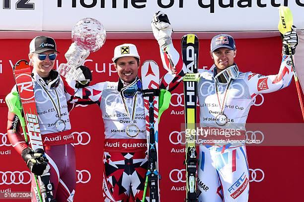 Marcel Hirscher of Austria wins the Overall World Cup Crystal Globe Henrik Kristoffersen of Norway takes 2nd place in the Overall World Cup standings...