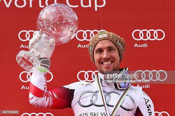 Marcel Hirscher of Austria wins the overall World Cup globe during the Audi FIS Alpine Ski World Cup Finals on March 22 2015 in Meribel France