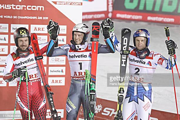 Marcel Hirscher of Austria wins the silver medal Henrik Kristoffersen of Norway wins the gold medal Alexis Pinturault of France wins the bronze medal...