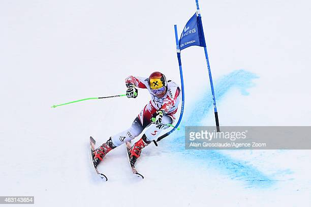 Marcel Hirscher of Team Austria wins a gold medal during the FIS Alpine World Ski Championships Nations Team Event on February 10 2015 in Beaver...