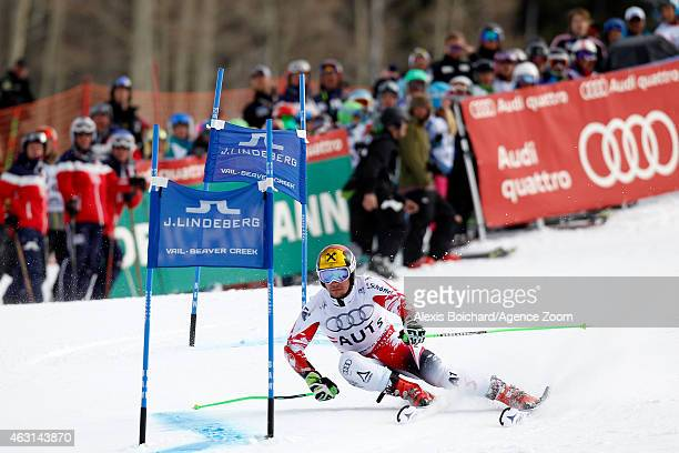 Marcel Hirscher of Team Austria wins a gold medal during the FIS Alpine World Ski Championships Nations Team Event on February 10 2015 in Vail/Beaver...