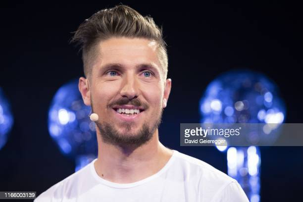Marcel Hirscher speaks to the media during a press conference announcing that he'll retire from alpine skiing on September 4, 2019 in Salzburg,...