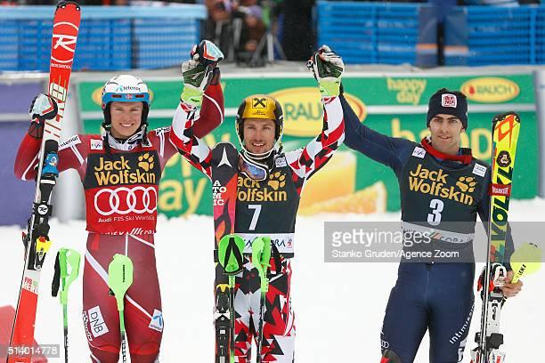 Marcel HirscherHenrik Kristoffersen Stefano Gross on the podium during the Audi FIS Alpine Ski World Cup Men's Slalom on March 06 2016 in Kranjska...