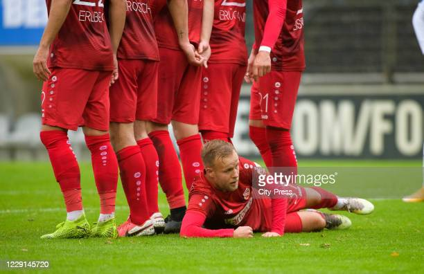 Marcel Hoppe of FC Energie Cottbus during the game between Hertha BSC U23 and Energie Cottbus on october 18, 2020 in Berlin, Germany.