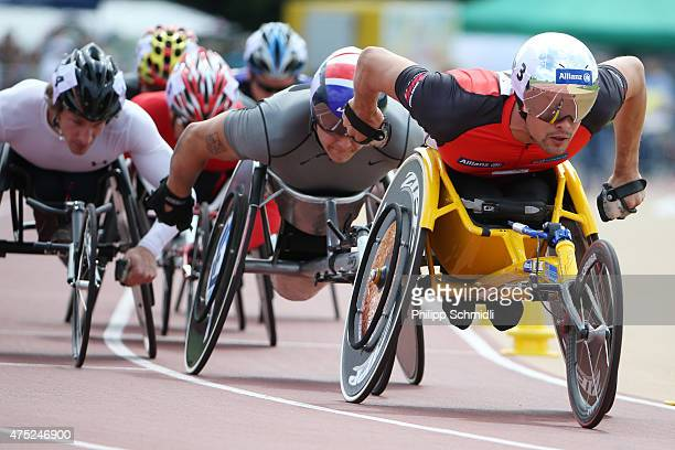 Marcel Hug of Switzerland and David Weir of Great Britain compete in the 800m race at the ParAthletics Grand Prix on May 30 2015 in Nottwil...