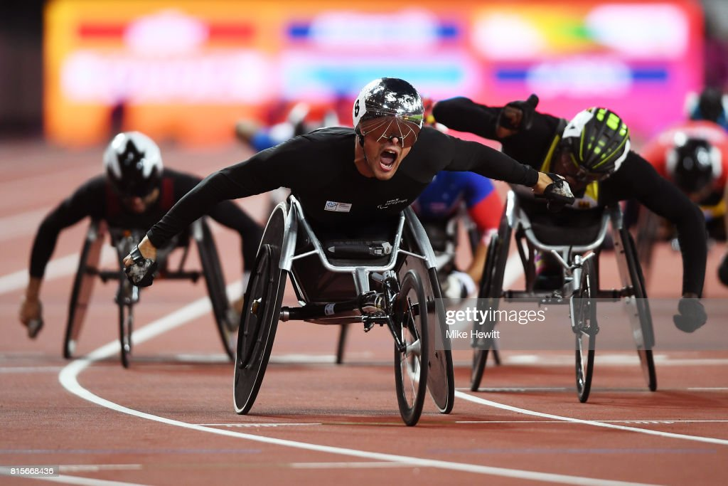 Marcel Hug of Switzerland celebrates as he crosses the line to win the Men's 1500m T54 Final during day three of the IPC World ParaAthletics Championships 2017 at the London Stadium on July 16, 2017 in London, England.