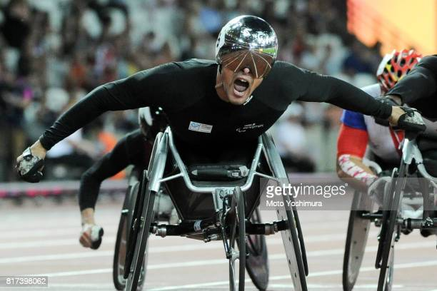 Marcel Hug of Switzerland celebrates winning the gold medal in the Men's 1500m T54 during the IPC World ParaAthletics Championships 201 at London...