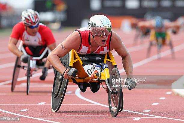 Marcel Hug of Switzerland celebrates winning the Men's 5000m T54 final during day five of the IPC Athletics World Championships on July 24 2013 in...