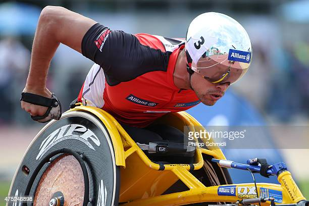 Marcel Hug of Switzerland competes in the 1500m race at the ParAthletics Grand Prix on May 30 2015 in Nottwil Switzerland