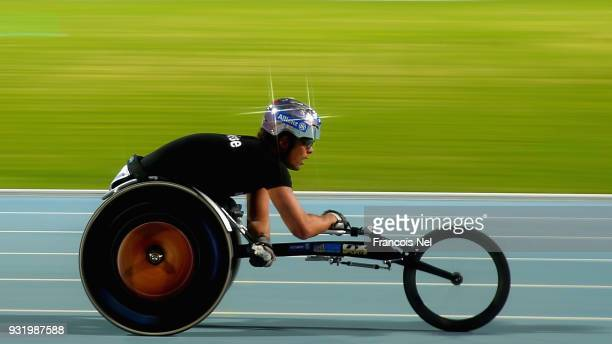 Marcel Hug of Switzerland competes in the 400m Wheelchair Men's Final during the 10th Fazza International IPC Athletics Grand Prix Competition World...
